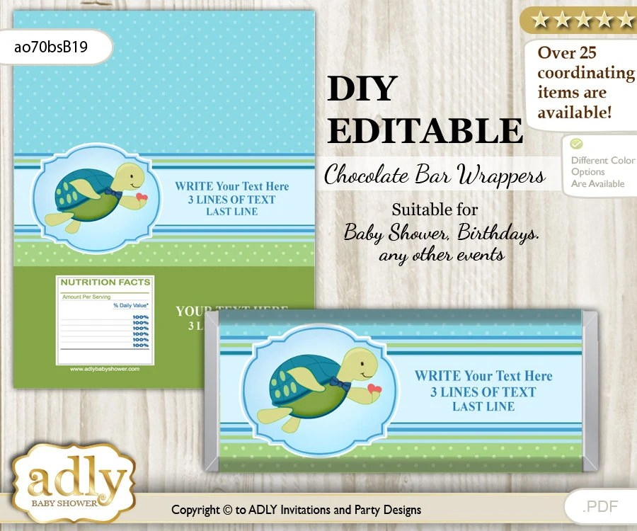 DIY Text change Turtle Boy Wrapper Printable for Chocolate Bar