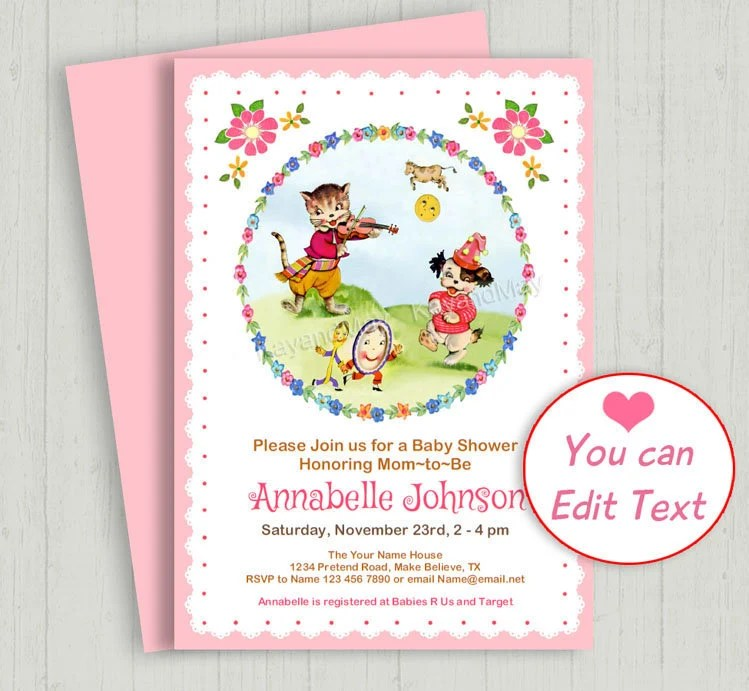 Hey Diddle Diddle invitation - Nursery Rhyme printable baby shower