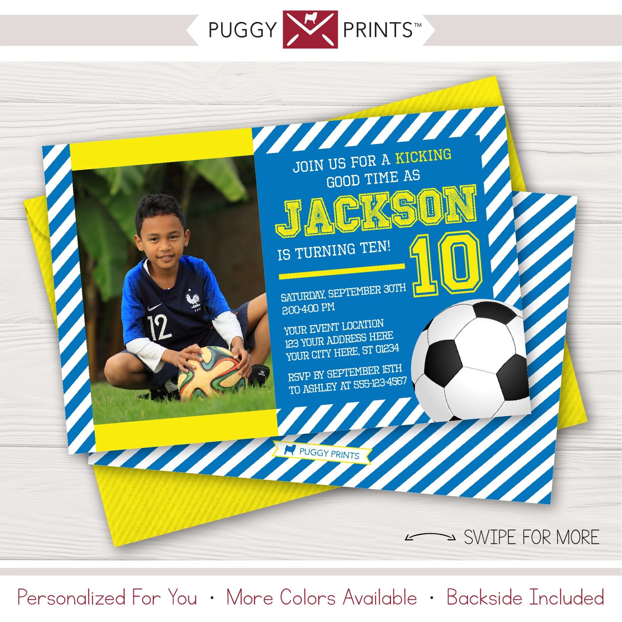 Soccer Birthday Thank You Card with Photo Blue and Yellow