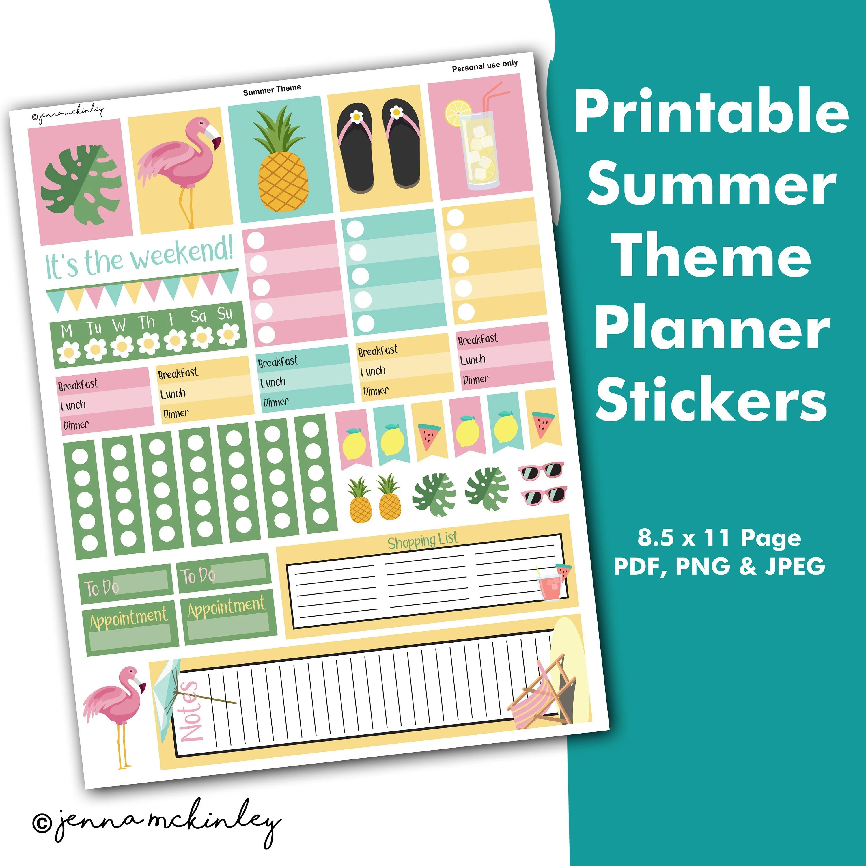 Printable Summer Planner Stickers Weekly Theme Cute Organization