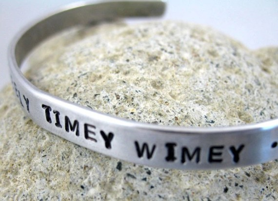 Hand Stamped Cuff Bracelet - Dr. Who 'Wibbly Wobbly Timey Wimey ....Stuff' by eclecticgarden