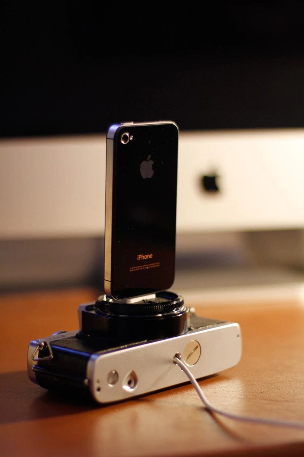 iPhone charger / dock - made from vintage camera