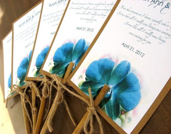 Hawaiian Tropical Turquoise Orchid Beach Wedding Program Fan