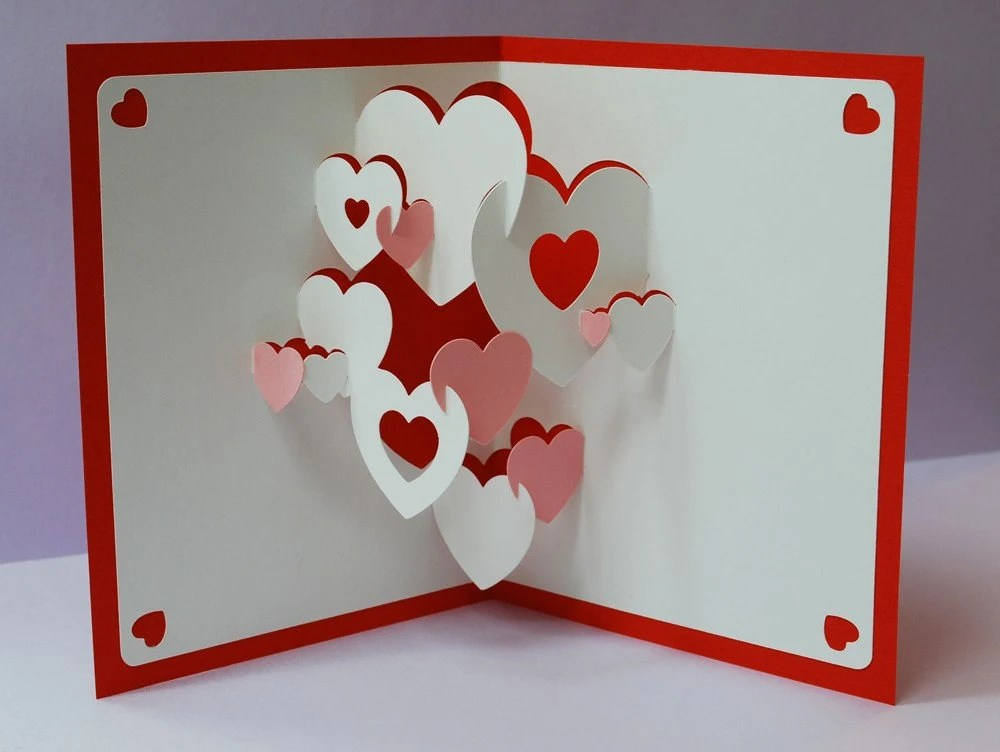 popup hearts cards Pinterest Popup, Cards and Kirigami - valentine craftf