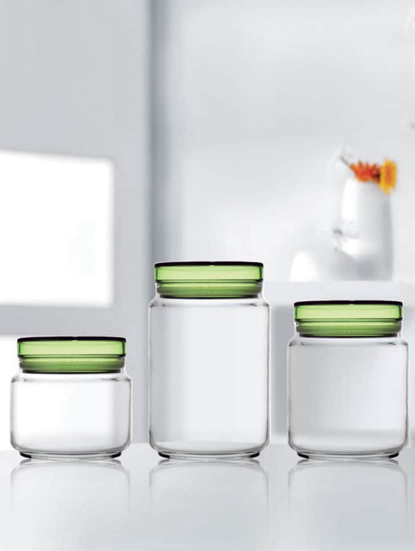 Luminarc Glass Glass Food Storage Jar 5 L 75 L 1 L Pack Of 3 Green Lid