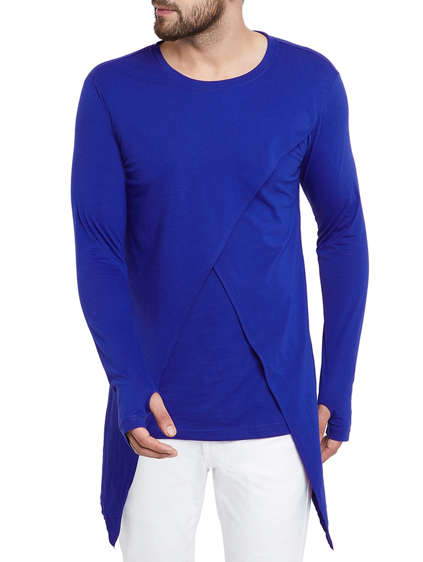 T Short Blue Solid Thumb Hole T Shirt