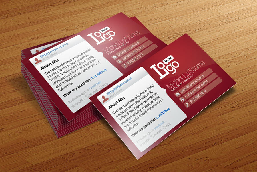 FREE Social Media Business Card Template by CursiveQ-Designs on