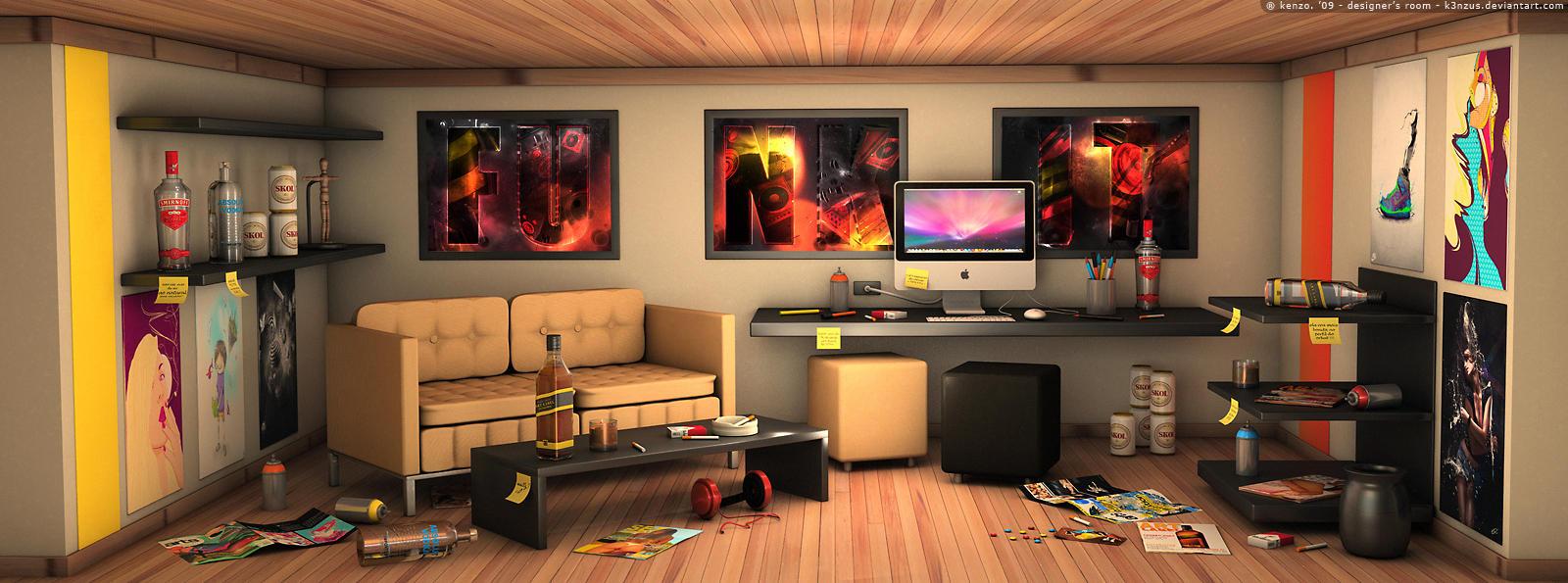 Classic 3d Desktop Workplace Wallpaper Designer S Room By K3nzus On Deviantart