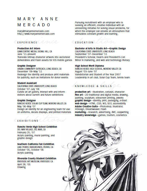 Personal Resume Curriculum Vitae CV for Art+Design by meh-anne on - resume or curriculum vitae