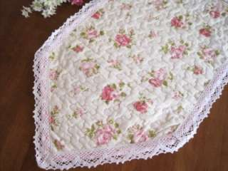 Pink Rose Crochet Lace Cotton Quilted Tissue Box Cover