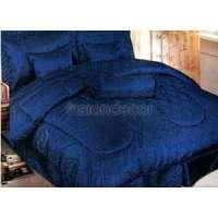 Darcy Navy Blue Jacquard Queen 7 Piece Set Comforter Size ...