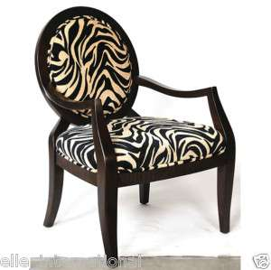 Zebra or leopard accent chair upholstered jungle print