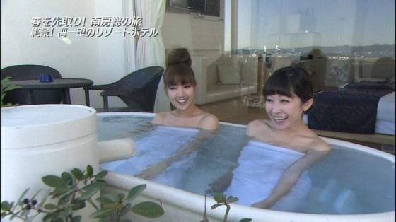 【温泉キャプ画像】お宝満載な温泉レポ!バスタオルからはみ出る巨乳に釘付けww 11