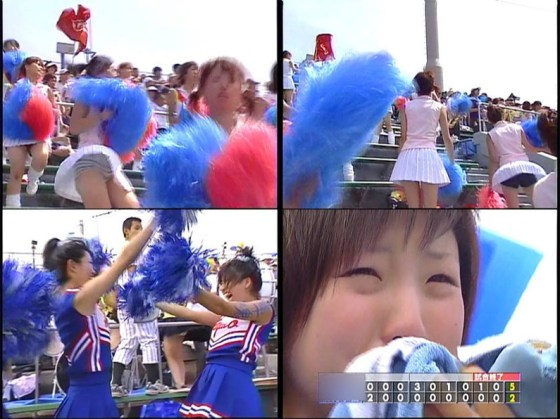 【放送事故画像】甲子園中継でパンチラまで映されてるとは知らず笑顔なJK達ww 16