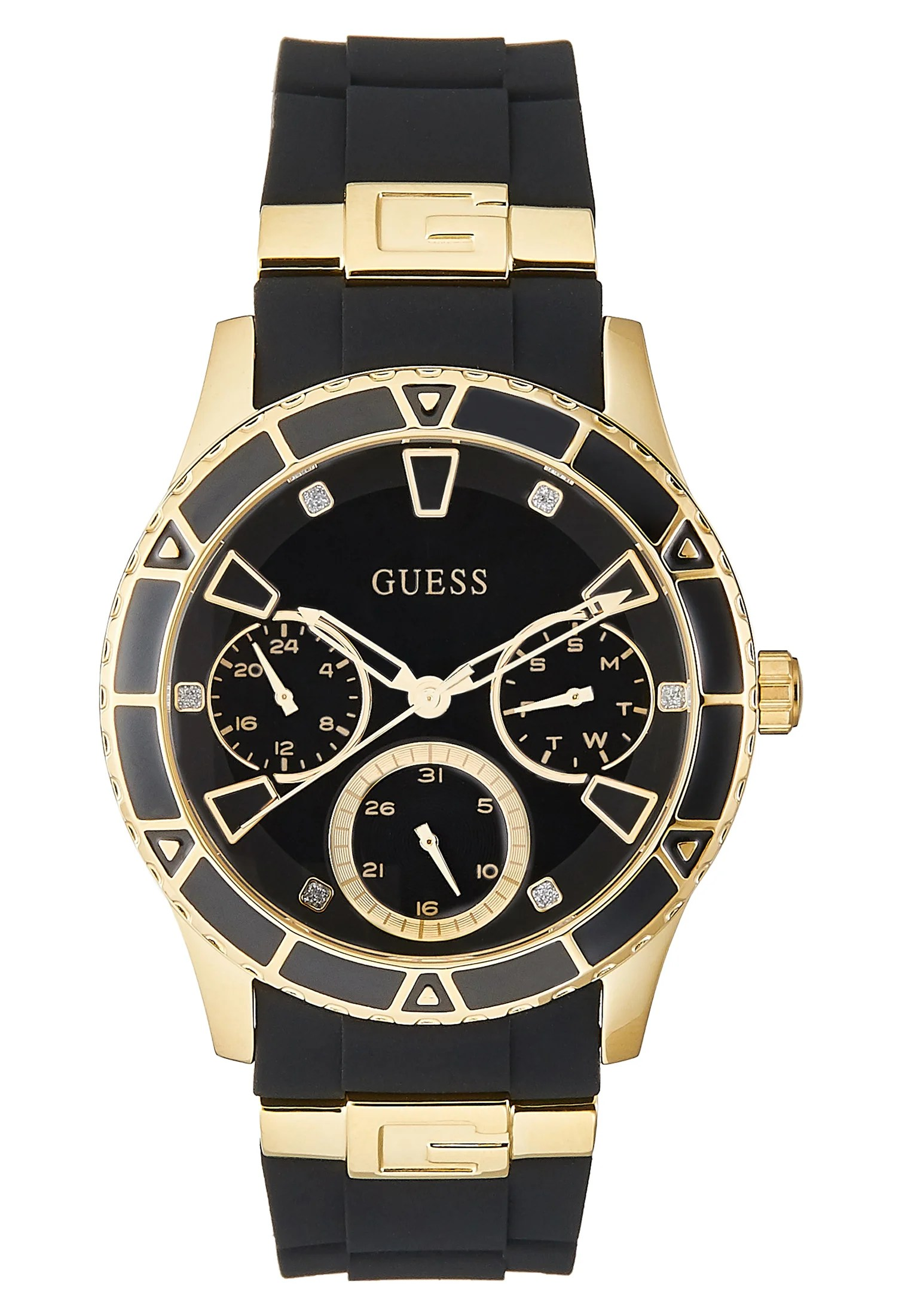 Guess Ladies Sport Uhr Black Gold Schwarz Zalando De