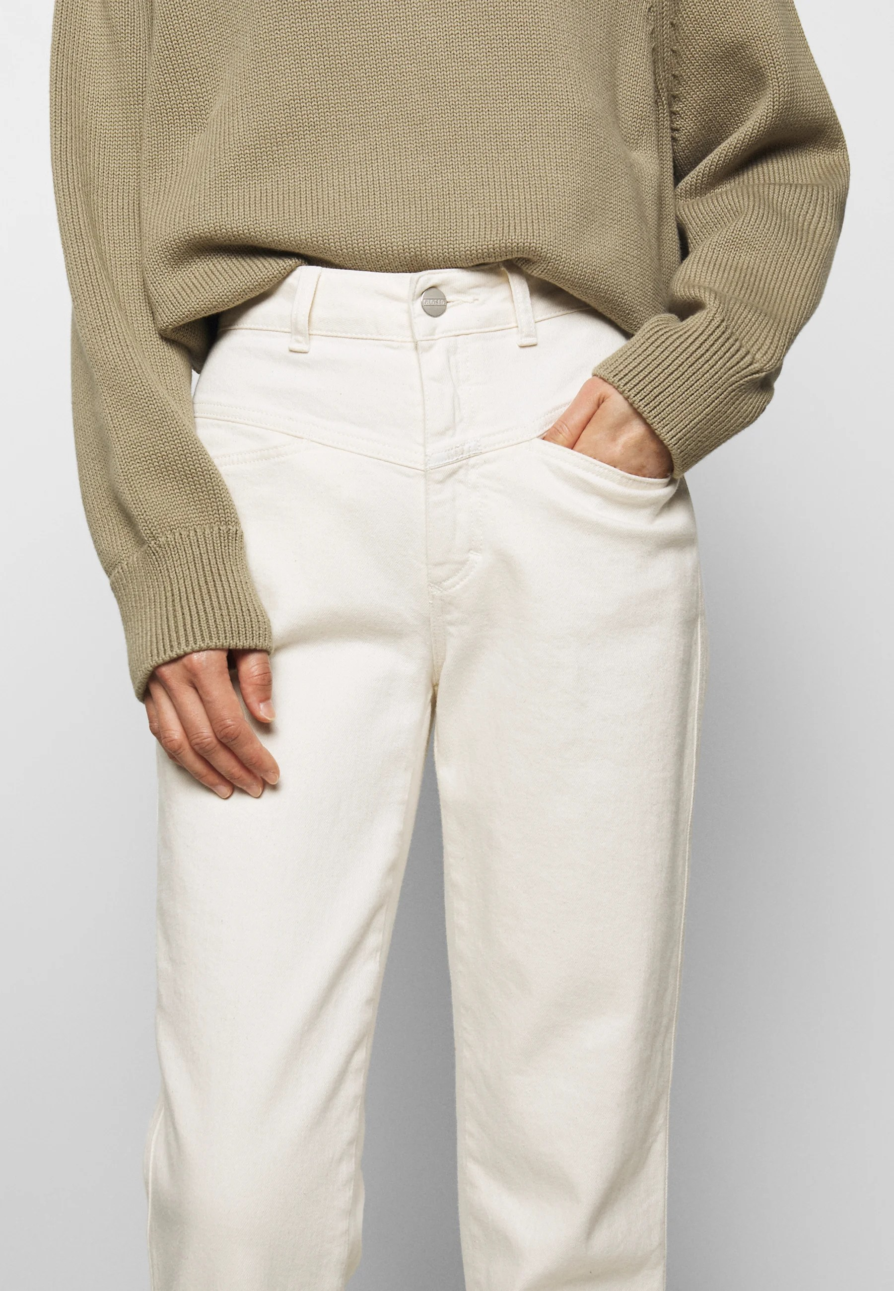 Closed Pedal Pusher Jeans Relaxed Fit Ecru Offwhite Zalando At