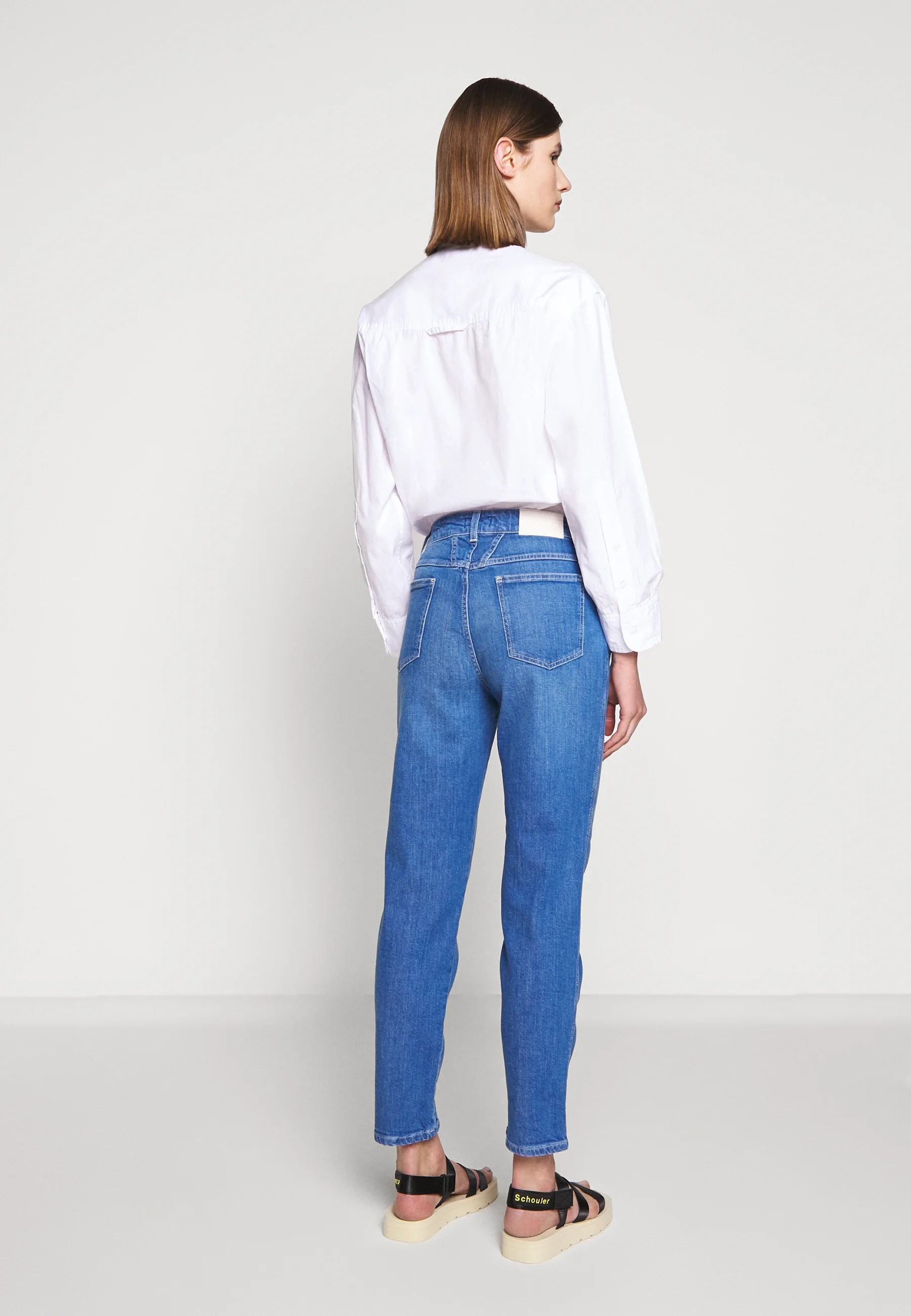 Closed Pedal Pusher High Waist Cropped Length Jeans Relaxed Fit Mid Blue Blue Denim Zalando At