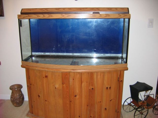Bow Front Aquarium Fish Tank with Light Hood and Stand Oak