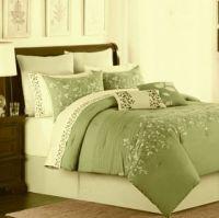 Elegant 7 PC King Size Seafoam Blue Comforter Bed Set New