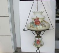 Vtg White Milk Glass Table Lamp Hand Painted Pink Roses ...