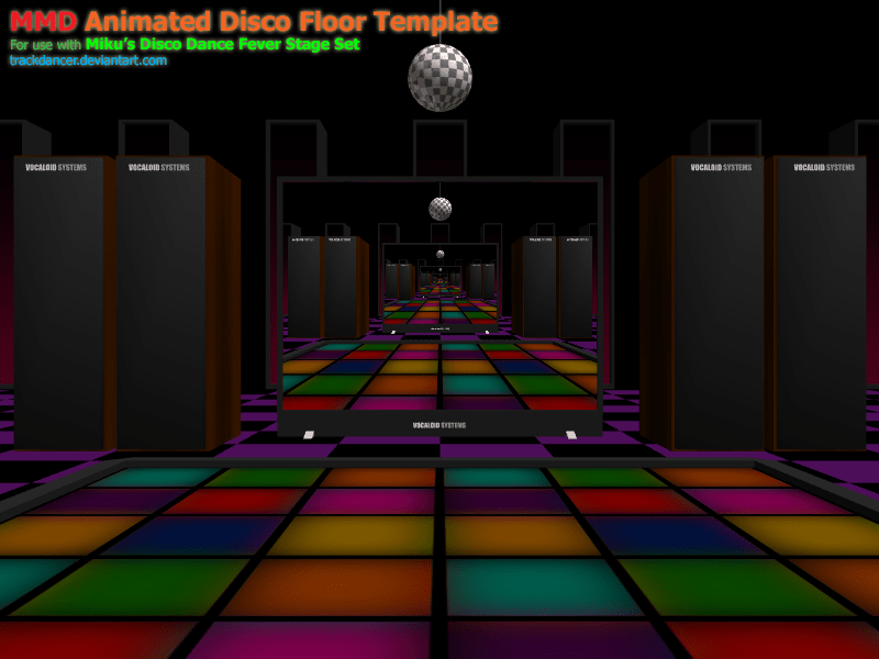 3d Motion Wallpaper Download Mmd Miku S Disco Fever Floor Animation Template By