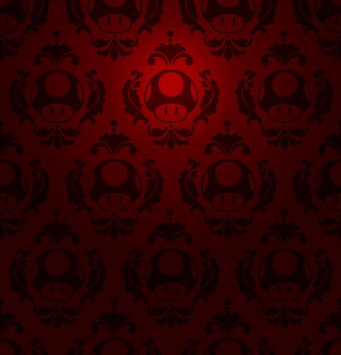 Mario Iphone Wallpaper Hd Super Mario Mushroom Damask By Codenameplayer On Deviantart