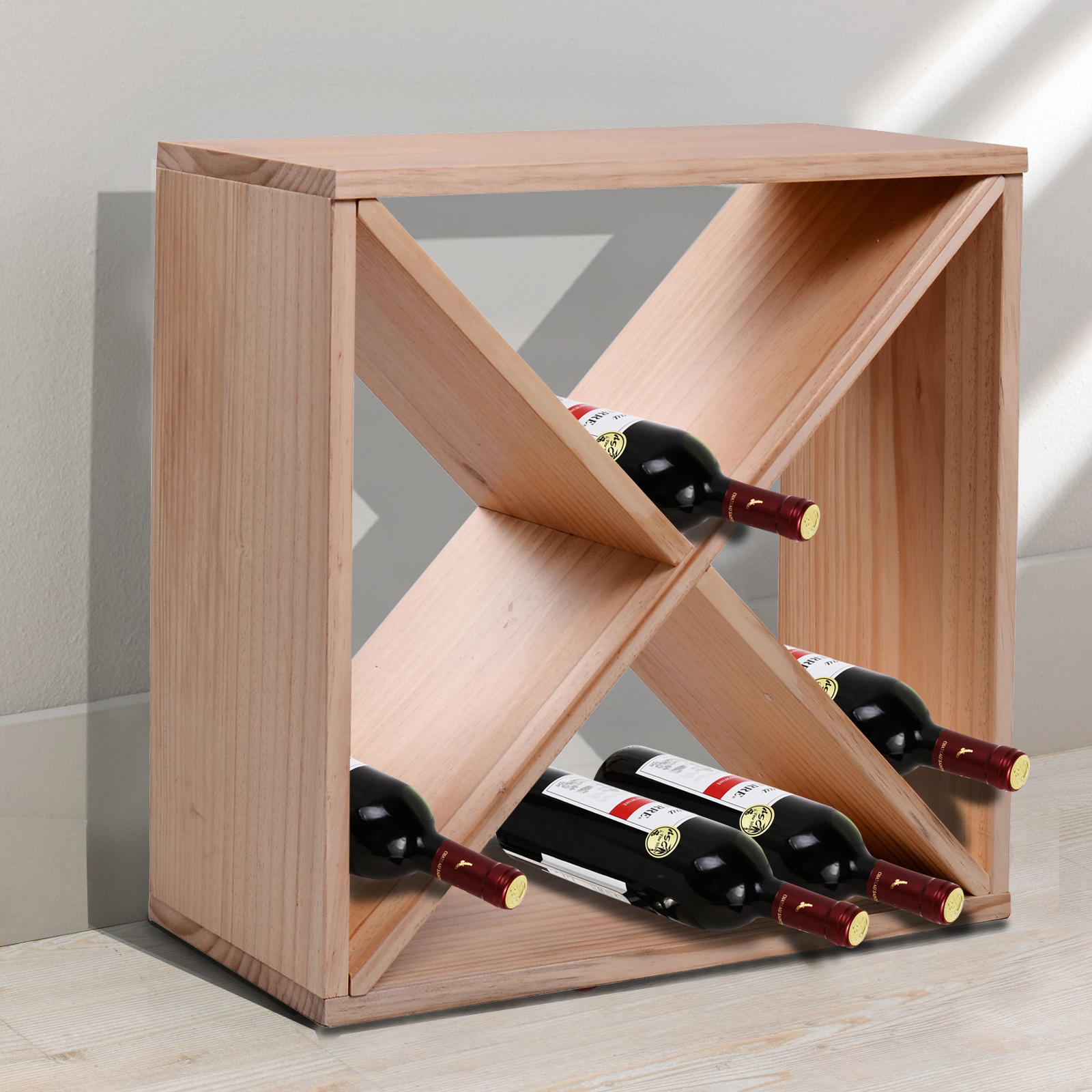 Wood Wine Storage Homcom Solid Wood 24 Bottle Stackable Tabletop Wooden Wine