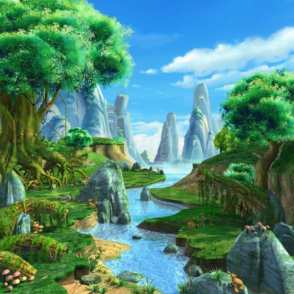 Wallpaper Seram 3d Cartoon River Scene 3d Model Max Tga Cgtrader Com