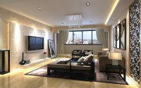 Photorealistic Living room with city view 3D model MAX