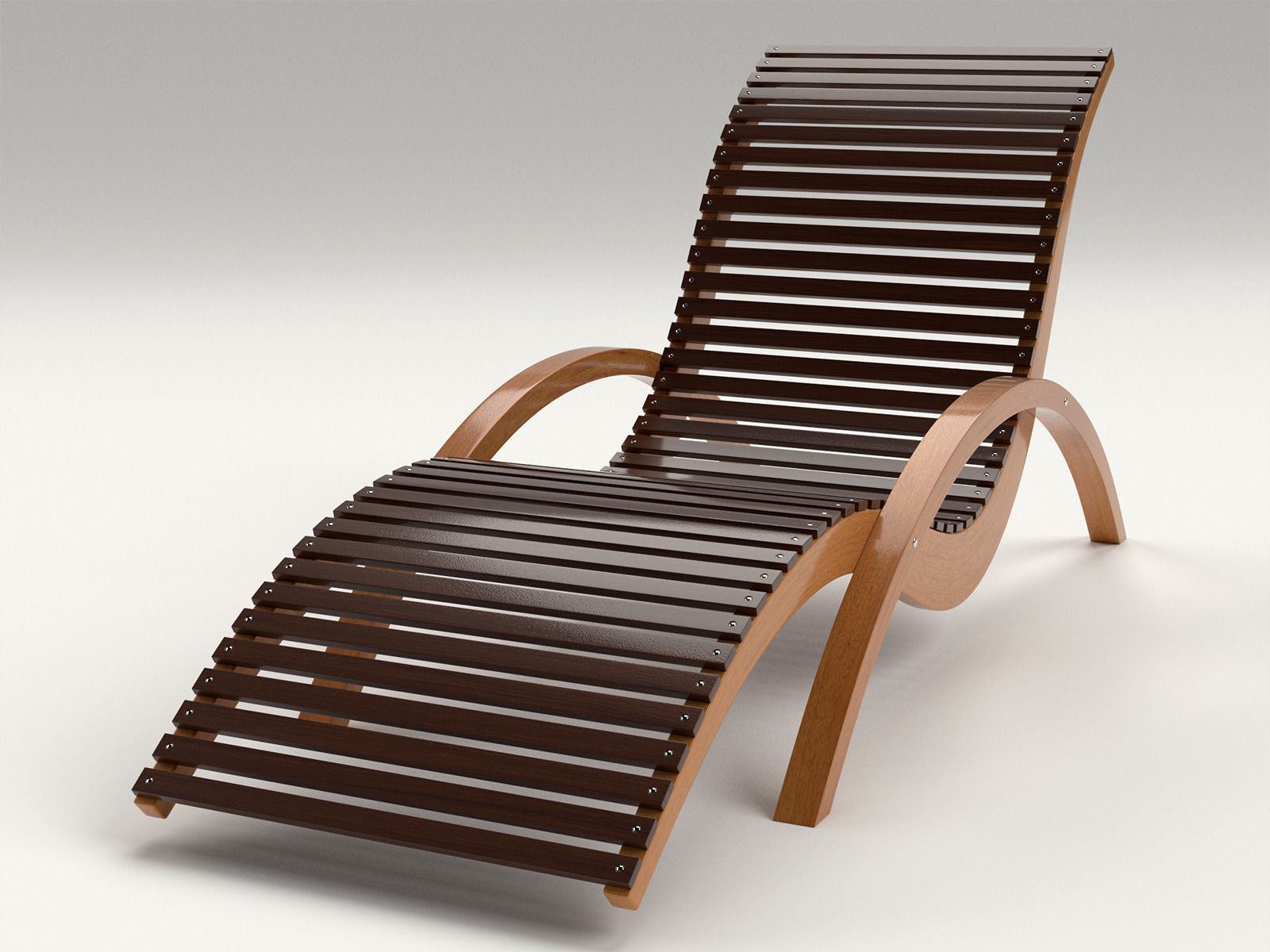 lounge chair outdoor wood patio deck 3d model obj dxf mtl 2