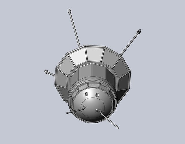 Simple Luna 3 Spaceprobe Printable Miniature 3D model 3D printable