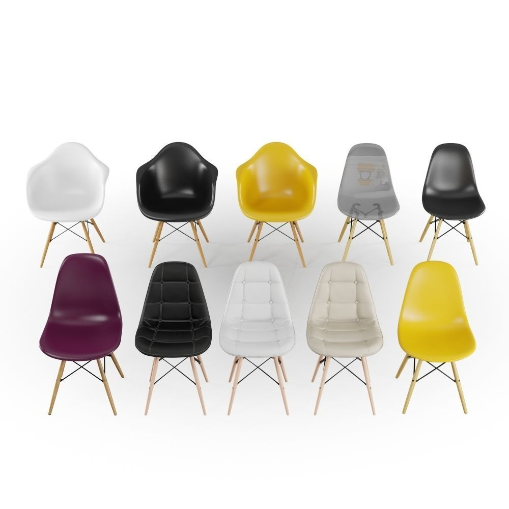 Eames Chair Beige Pack 10 Eames Chair 3d Model
