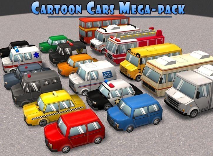 Cartoon Cars Mega-Pack 3D asset CGTrader