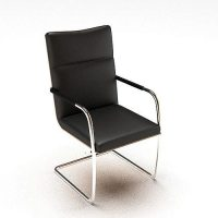 Simple Black Leather Chair 3D model