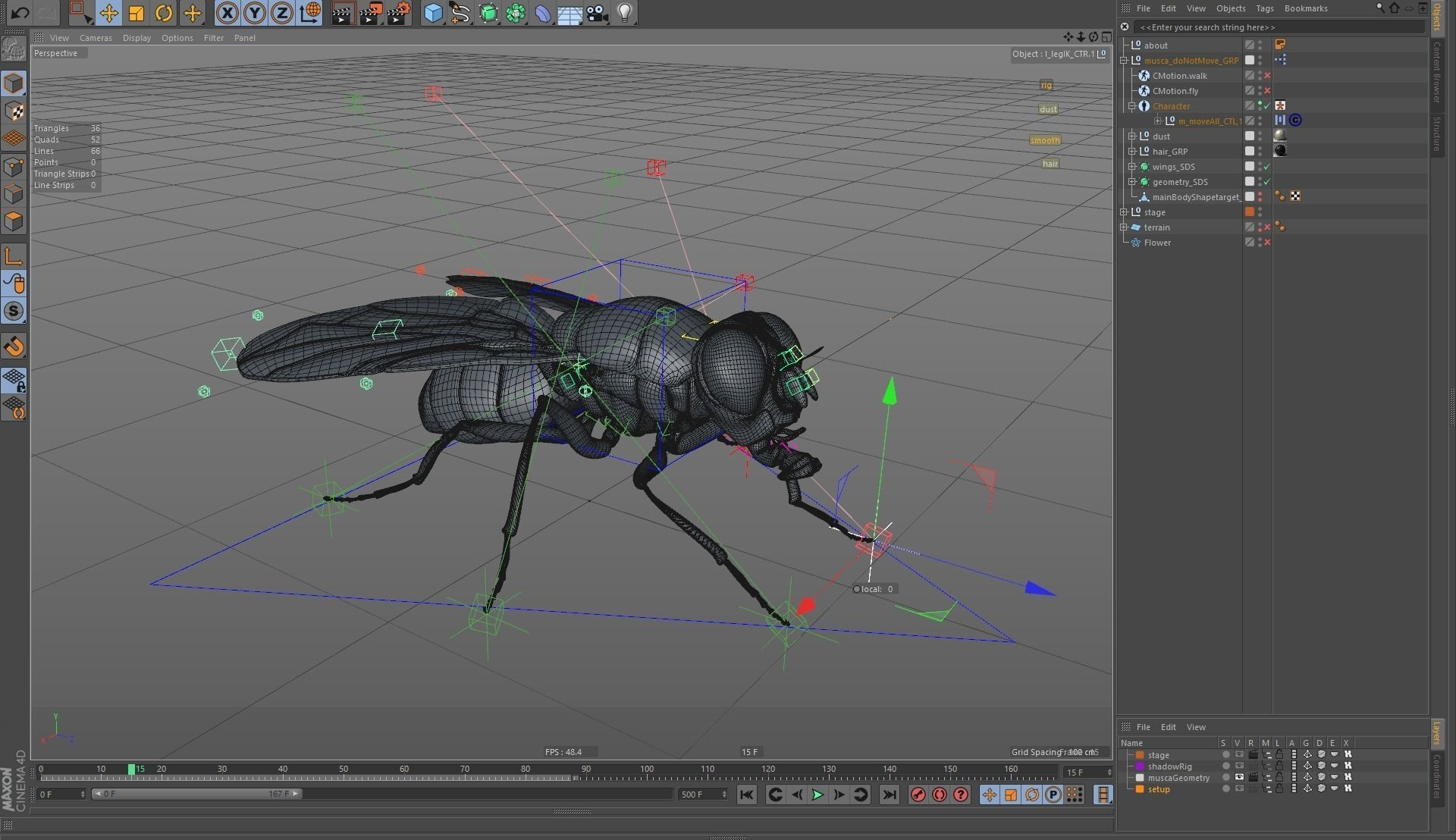 3d Models For Animation Housefly Rigged And Animated For Cinema 4d 3d Model