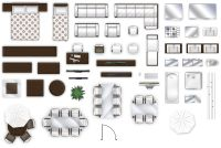 2d furniture floorplan top-down view style-2 PSD 3D Model ...