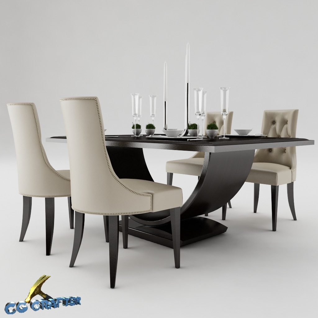Max A Table Dining Table Set 3d Model Max Obj 3ds Fbx Mtl Cgtrader