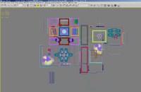 Living Room with Floral Design Carpet 3D Model MAX ...