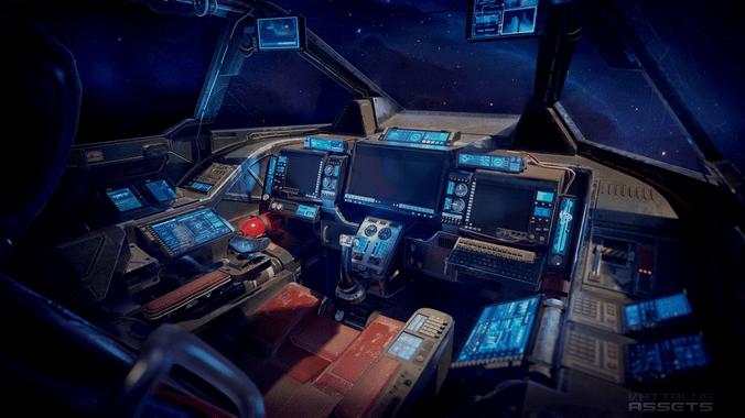 Car Throttle Wallpaper 3d Asset Scifi Heavy Fighter Cockpit Cgtrader