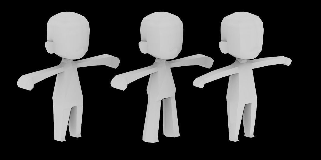 3D asset low-poly Chibi character template for games - character model template