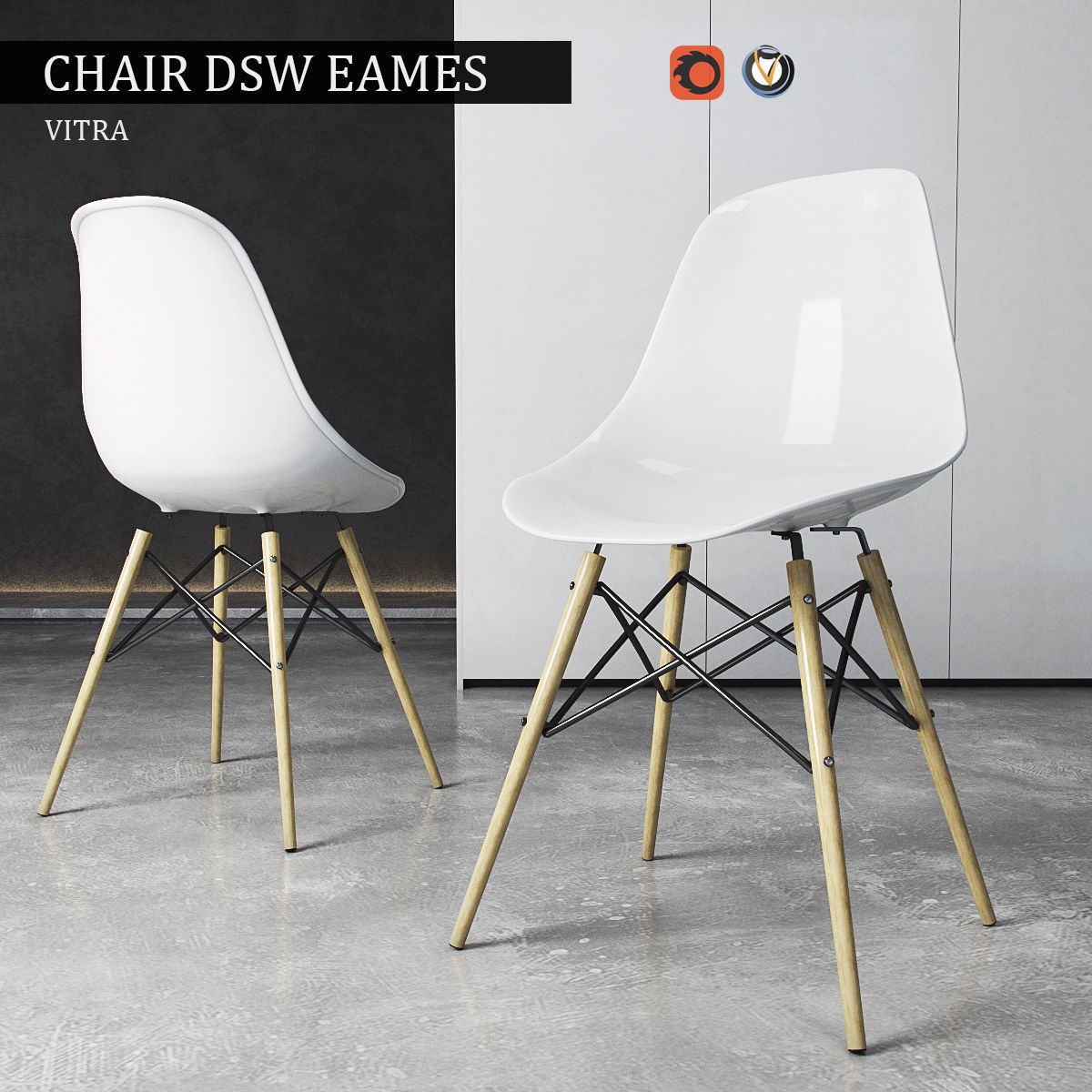 Eames Dsw Chair Vitra Dsw Eames Plastic Side 3d Model