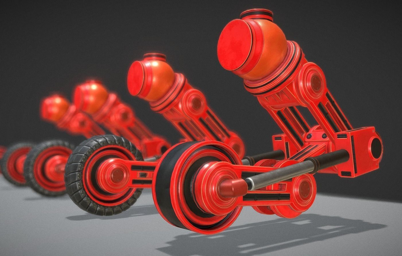 Suspension Design Neon 3d Model Hydraulic Suspension With Tires Neon Red Version
