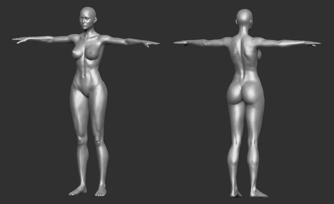 Female Template Base Model Comic Hero Shape 3D model OBJ MTL