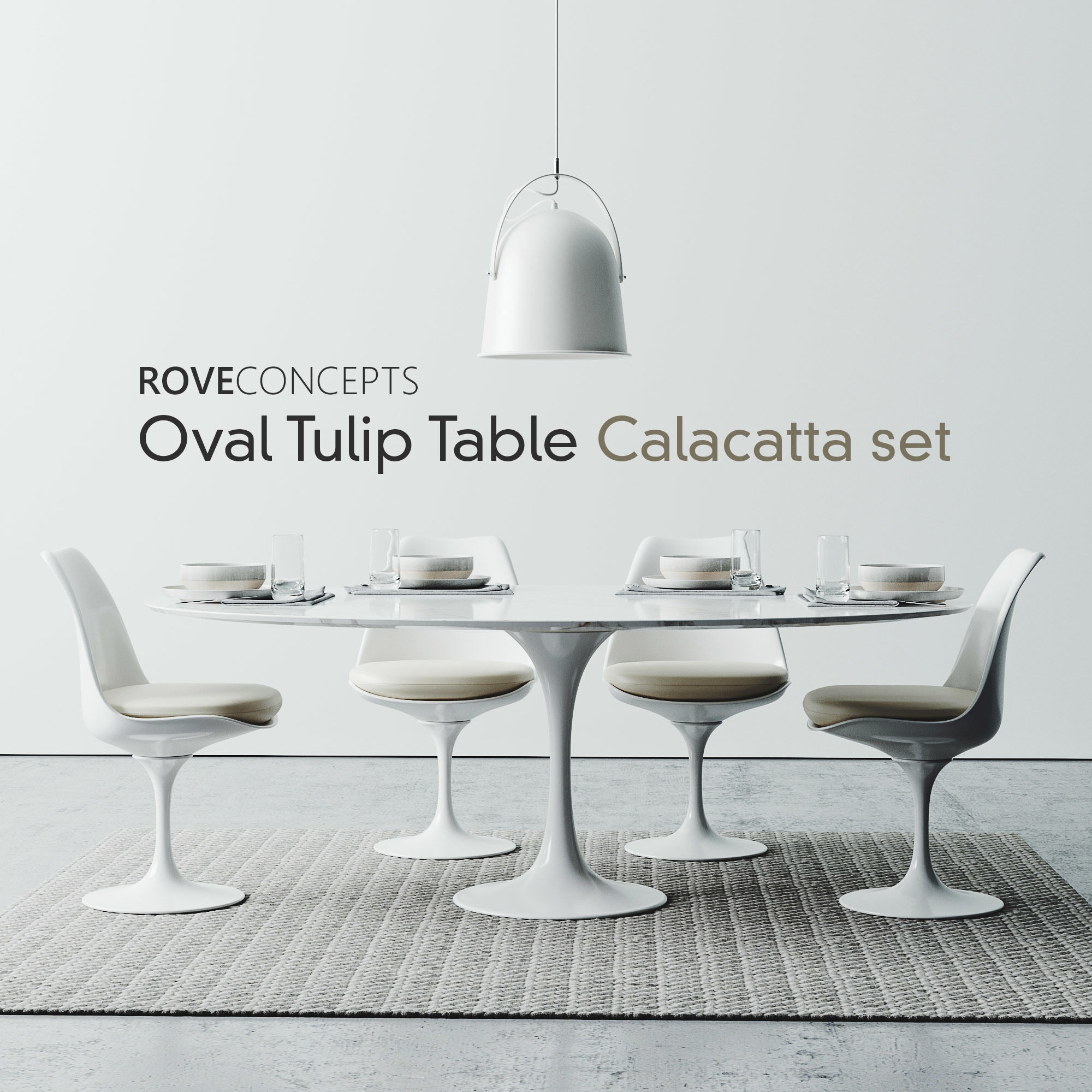 Tulip Table Oval Tulip Table Calacatta Set 1980mm 3d Model