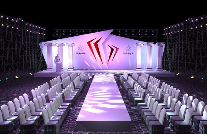 3d Perspective Wallpaper Stage Party Concert Fashion Catwalk T Station 136 3d Model