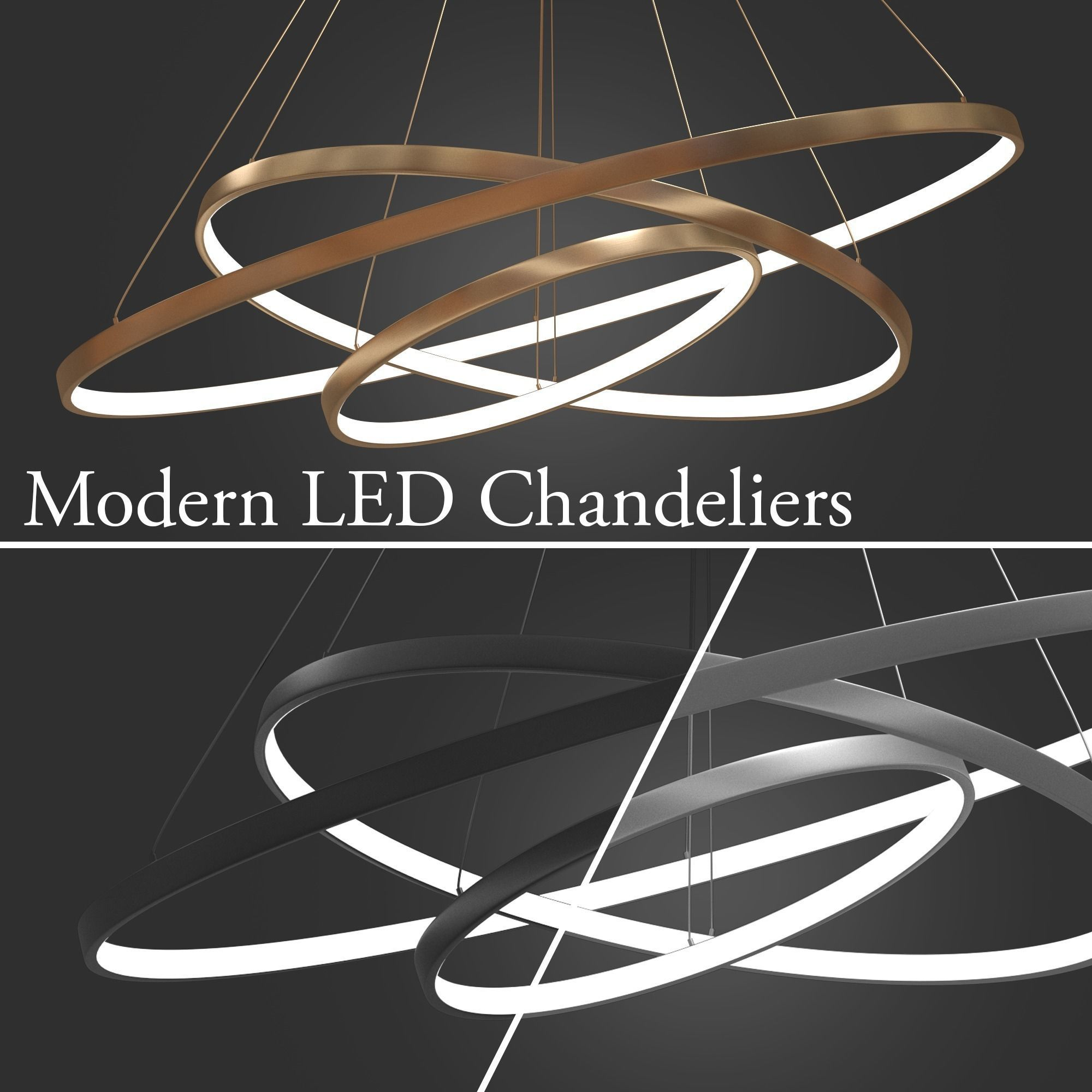 Led Chandelier Chandeliers Led 3 Rings 3d Model