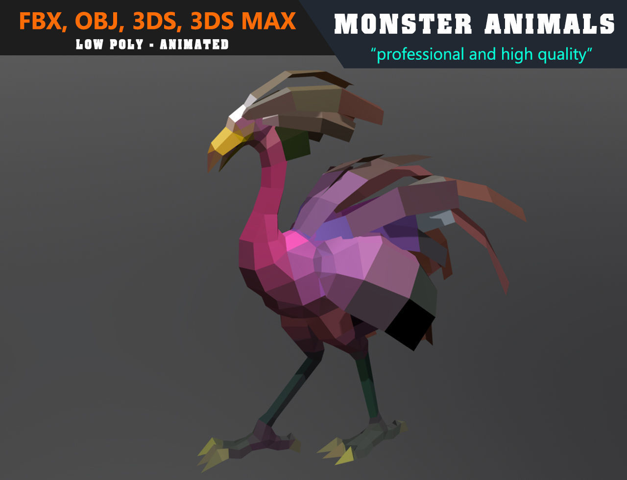 3d Models For Animation Low Poly Ostrich Cartoon Monster 3d Model Animated Game Ready 3d Model