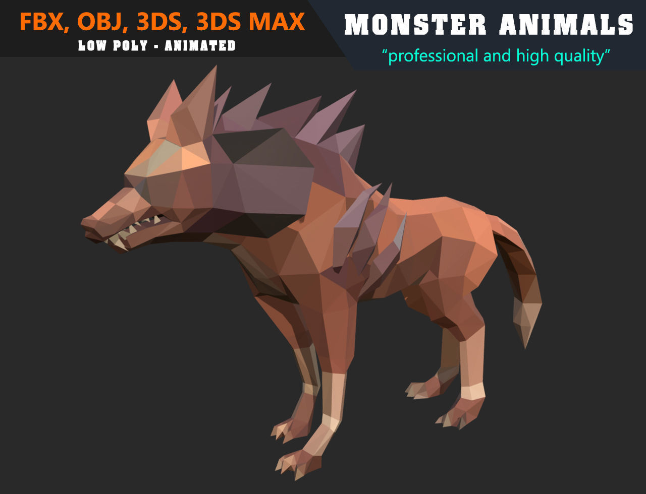 3d Models For Animation Low Poly Wolf Cartoon Monster 3d Model Animated Game Ready 3d Model