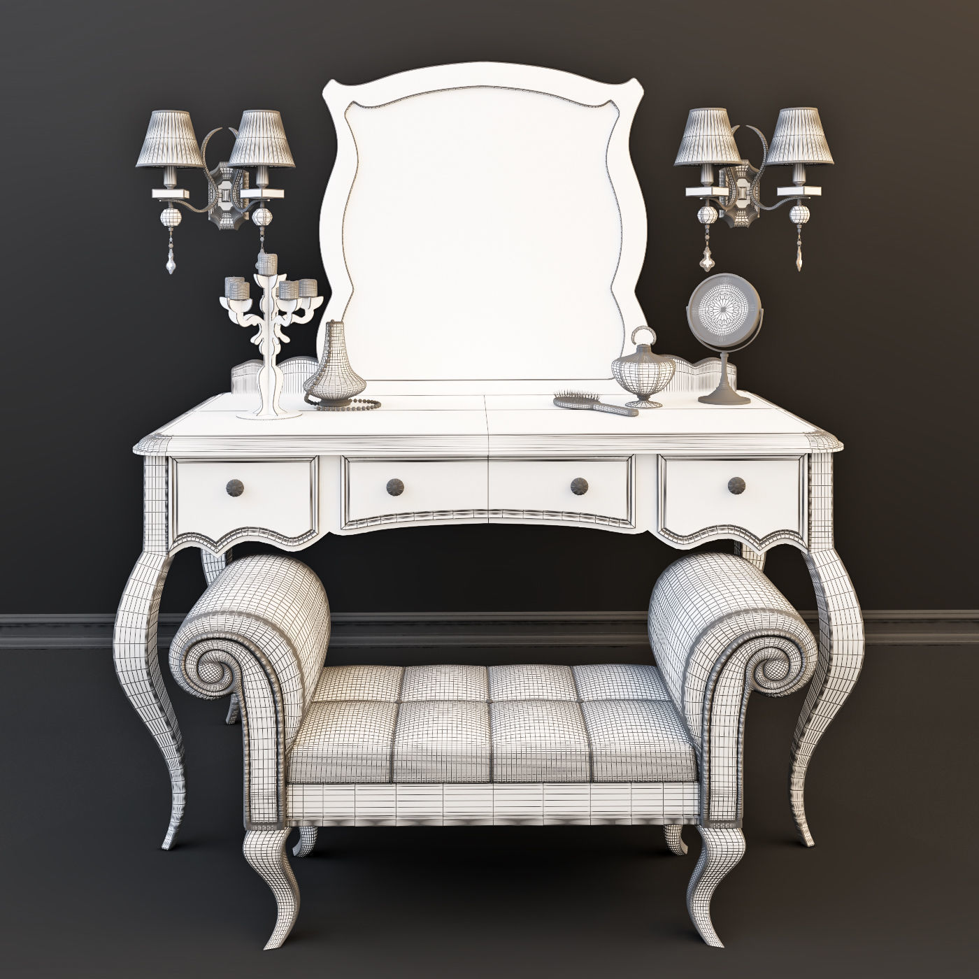 Cosmetic Table Cosmetic Table With Decor 3d Model