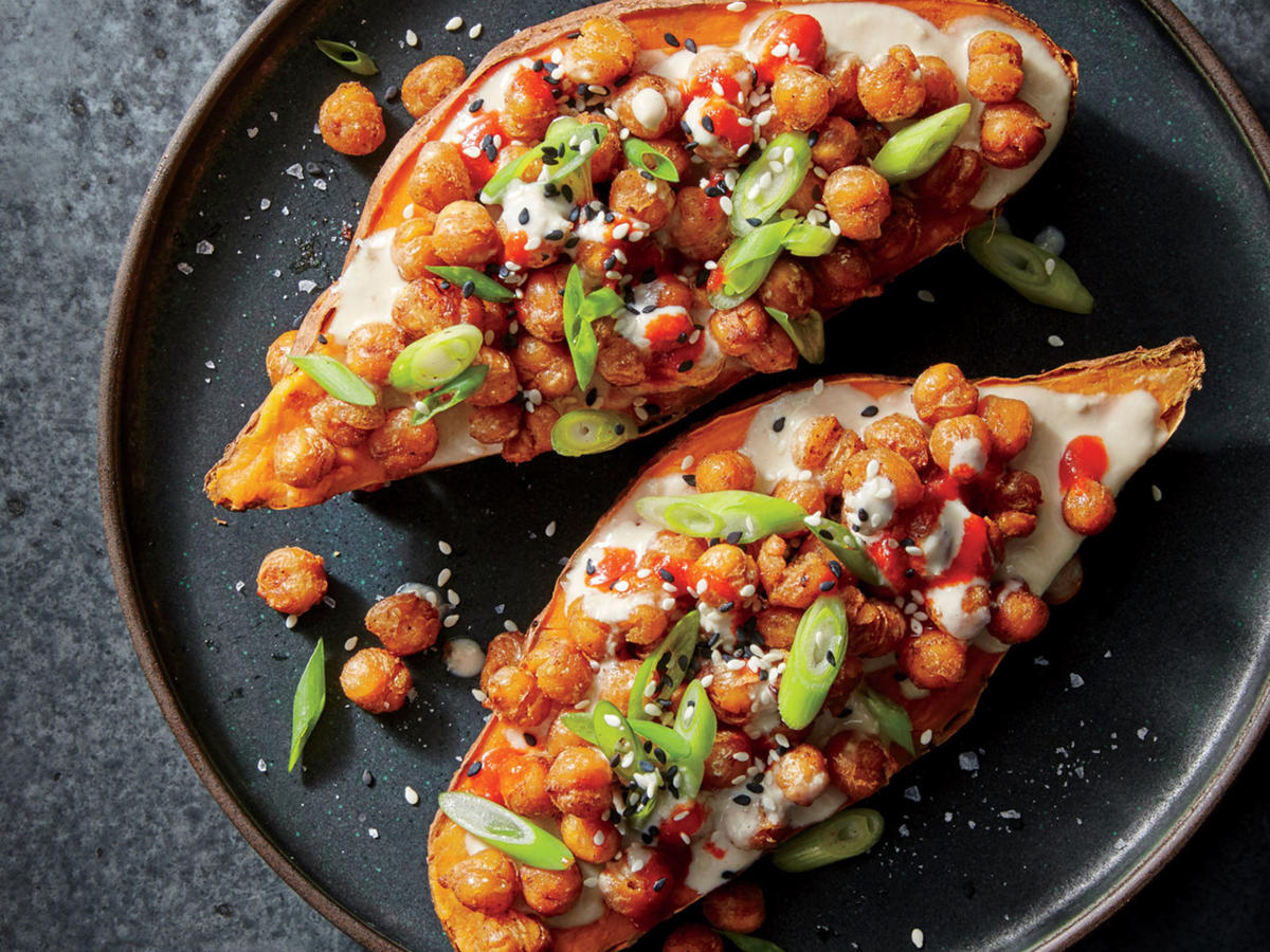 Cuisine Yam Sesame Ginger Chickpea Stuffed Sweet Potatoes